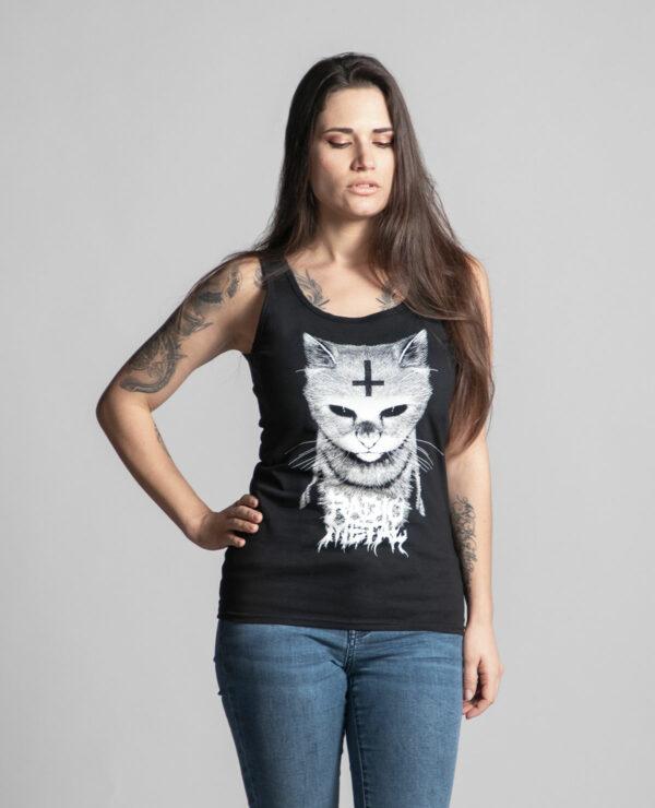 C'est un débardeur noir femme de la marque Radio Metal qui représente un chat satanique