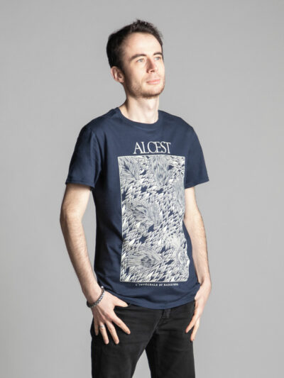 Blue unisex T-shirt branded by Radio Metal in relation to the release of the book Alcest: The Complete Collection by Radio Metal for the metal music band Alcest with an artwork made by Fortifem representing a peacock