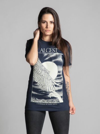 Blue unisex T-shirt branded by Radio Metal related to the release of the book Alcest: The Complete Collection by Radio Metal for the metal music band Alcest with an artwork made by Fortifem representing a hand and a wing as well as the Moon.