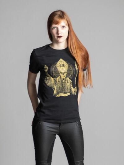 C'est un t-shirt noir femme et homme de la marque Radio Metal qui représente un pape.
