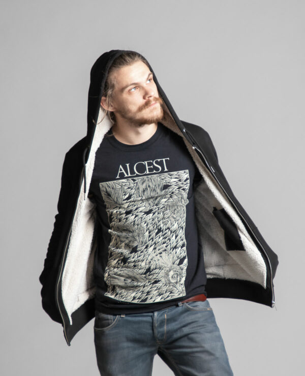 Inside of the unisex Sherpa lined hooded jacket branded by Radio Metal, which represents a satanic cat. The Alcest T-shirt represents a peacock.