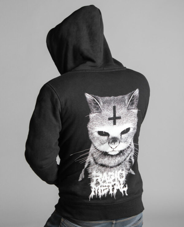 Back of the unisex Sherpa lined hooded jacket branded by Radio Metal, which represents a satanic cat