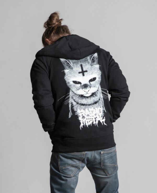 Back of the black unisex hooded jacket branded by Radio Metal, which represents a satanic cat