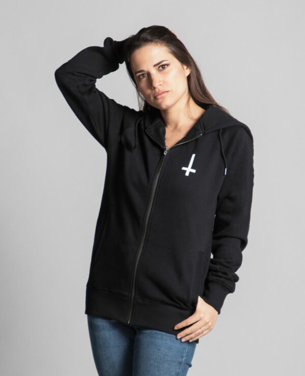 Front of the black unisex hooded jacket branded by Radio Metal, which represents a cross