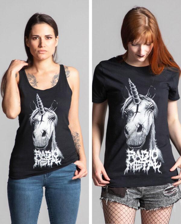 "<span class=""collec"">Satanimals </span><span class=""modele"">Licorne </span>Débardeur femme + t-shirt unisexe"