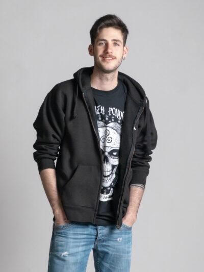 C'est le devant de la veste à capuche noire femme et homme de la marque Radio Metal qui représente le logo Radio Metal