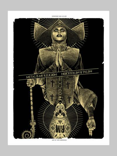 Postter d'une nonne et d'un pape en carte à jouer